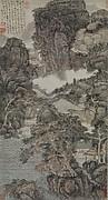 明/清  髡殘  雨花木末圖  軸<br/>Landscape