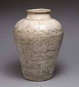 Large jar with decoration of peonies