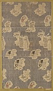 Textile fragment with repeating pattern of scattered vignettes of human figures