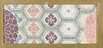 Textile fragment with pattern of chrysanthemums on hexagonal lattice (Kikkō)