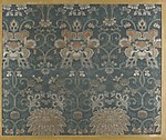 Textile fragment with repeating pattern of chrysanthemums and peonies in floral arabesque