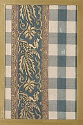 Textile fragment with pattern of checks with band of phoenixes and flowers