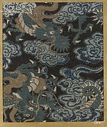 Textile fragment with pattern of three-clawed dragons in clouds