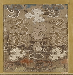 Textile fragment with pattern of dragons and clouds