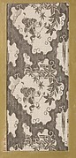 Textile fragment with repeating pattern of irregularly shaped cloud-edged vignettes containing two human figures and maple leaves