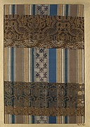 Textile fragment with repeating pattern of stripes and figured bands