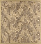 Textile fragment with repeating pattern of cranes and chrysanthemums