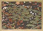 Textile fragment with pattern of pine, cranes, and auspicious symbols