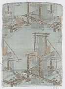 Textile fragment with incomplete repeating pattern of loom, weaver, and drawboy