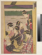 "A Party of Geisha in a Suzumi-bune, i.e. ""cooling-off boat.""  (Second Scene of a Boating Party)"
