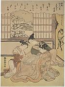 Evening Snow on Matsuchi Hilll, from the series Eight Fashionable Views of Edo (Furyu Edo hakkei)