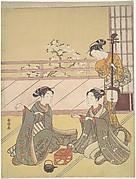 Young Women Playing Kitsune-ken (Fox Game)