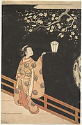 Woman Admiring Plum Blossoms at Night