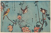 Titmouse and Camellias (right), Sparrow and Wild Roses (center), and Black-naped Oriole and Cherry Blossoms (left)