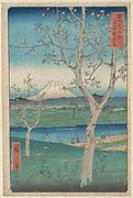 View of Mount Fuji from Koshigaya, Province of Musashi (Musashi, Koshigaya Zai), from the series Thirty-six Views of Mount Fuji (Fugaku sanjūrokkei)