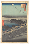 """Nihon Embankment at Yoshiwara,"" from the series One Hundred Famous Views of Edo (Meisho Edo hyakkei, Yoshiwara, Nihonzutsumi)"
