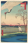 """Minowa, Kanasugi at Mikawashima,"" from the series One Hundred Famous Views of Edo (Meisho Edo hyakkei, Minowa Kanasugi, Mikawashima)"