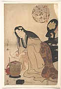 Lady Arranging Binsashi (Support for the Hair over the Temples) to put in Her Hair