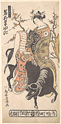 The Actor Iwai Hanshiro as a Courtesan Reading a Love Letter while Mounted on a Black Ox