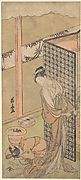 An Oiran in Night Attire, pausing, with one Hand on the Screen that Surrounds Her Bed