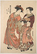 An Oiran Accompanied by a Servant and a Boy and Girl Attendant