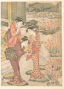 Three Young Women in a Garden where Nadeshiko Pinks are Growing