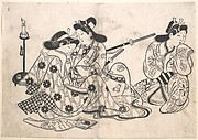 Samurai and Courtesan Seated; A Servant Beside Them