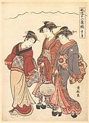 Two Geisha Preceded by a Maid Carrying a Lantern