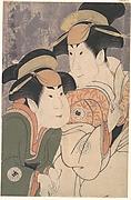 "Segawa Tomisaburō II and Nakamura Manyo as Yadorigi and Her Maid Wakakusa in the Play ""Hana Ayame Bunroku Soga"""