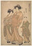 The Oiran Wakoku of Echizen-ya attended by a Shinzo and a Kamuro