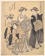 The Oiran Utagawa of Matsubaya attended by Her Kamuro Yoshino and Tatsuta