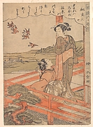 """Two Young Women on a Verandah Watching Plovers,"" from the series Stylish Six Poetic Immortals (Fūryū rokkasen: Ki no Tomonori, jū)"