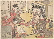 Four Oiran of the House Called Kadokana-ya Playing the Game of Ko-awase (Incense Game)