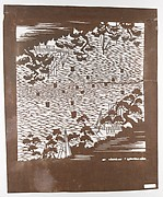 Stencil with Pattern of Seascape with Boats and Shore with Pines