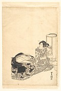 Courtesan or Actor as Courtesan Pouring Tea by the Light of a Lantern
