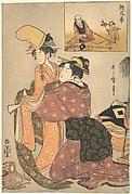 A Woman Dressing a Girl for a Kabuki Dance (E-kyodai)