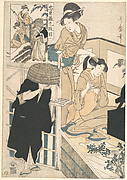A Woman at Her Toilet Seated before a Mirror, Having Her Hair combed by a Kameyui (Woman Hairdresser)