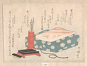 Writing Set and Poem Card Box (Shikishi-bako), from Spring Rain Surimono Album (Harusame surimono-jō), vol. 1