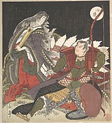 The Warrior Miura-no-suke Confronting the Court Lady Tamamo-no-mae as She Turns into an Evil Fox with Nine Tails