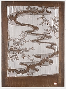 Stencil for Textile with Pattern of Bush Clover and Meandering Stream