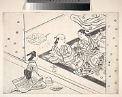 Lady Playing Shamisen, with Her Lover and Attendant Nearby