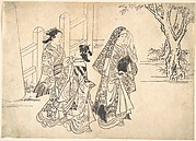 A Courtesan Followed by Two Girl Attendants