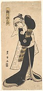 The Actor Segawa Kikunojo III as a Woman in  Black Robe Holding a Straw Hat
