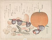 Orange, Dried Persimmons, Herring-Roe and Different Nuts; Food Used for the Celebration of the New Year
