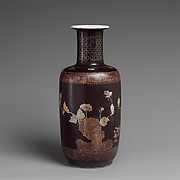 Vase with Rock, Flowers, and Butterflies