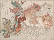 Urashima Taro Going Home on the Back of a Tai Fish, the King of the Sea Seeing Him Off