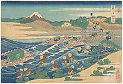 Fuji Seen from Kanaya on the Tōkaidō (Tōkaidō Kanaya no Fuji), from the series Thirty-six Views of Mount Fuji (Fugaku sanjūrokkei)