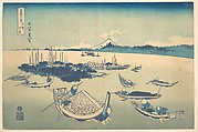 Tsukudajima in Musashi Province (Buyō Tsukudajima), from the series Thirty-six Views of Mount Fuji (Fugaku sanjūrokkei)