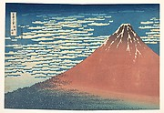 South Wind, Clear Sky (Gaifū kaisei), also known as Red Fuji, from the series Thirty-six Views of Mount Fuji (Fugaku sanjūrokkei)
