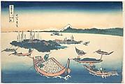 Tsukudajima in Musashi Province (Buyō Tsukudajima), from the series Thirty-six Views of Mount Fuji (Fugaku sanjūrokkei)